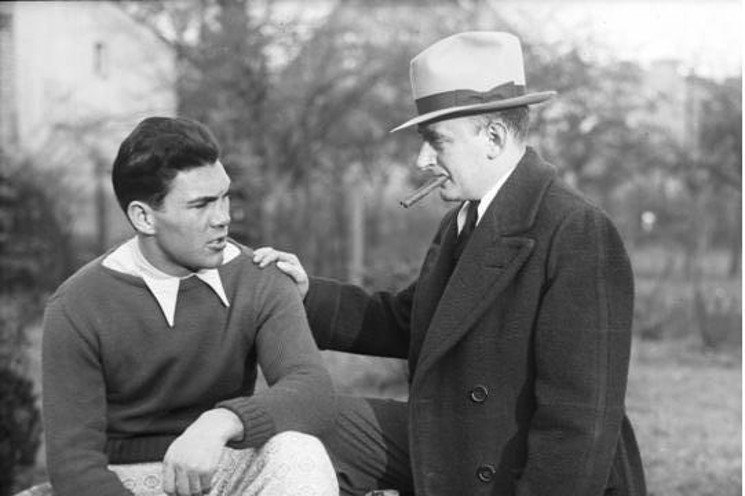 Max Schmeling mit seinem Manager Joe Jacobs