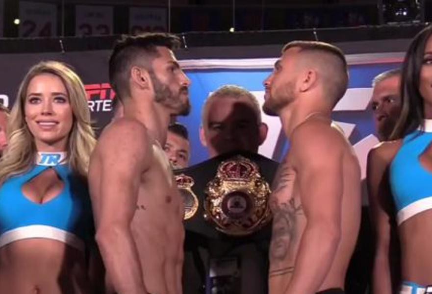 WBA World Leichtgewicht Champion Jorge Linares und WBO Super-Federgewichts Champion Vayl Lomachenko wogen beim offiziellen weigh in beide exakt 61,0 Kilo